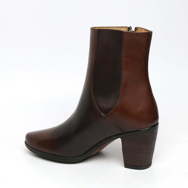 Smudged Brown Dual Tone Leather Boots By Brune