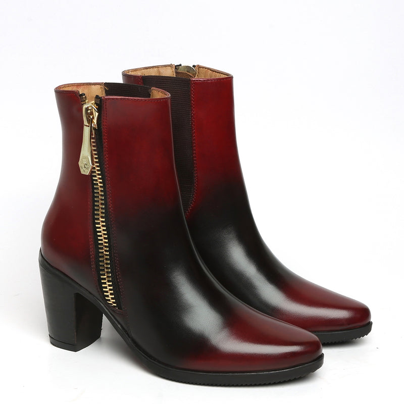 Smudged Wine Dual Tone Leather Boots By Brune