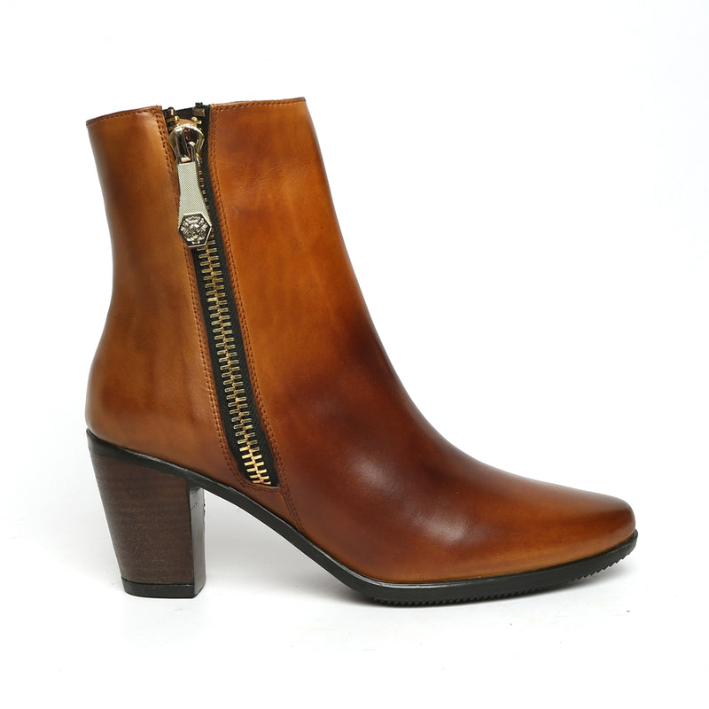 Smudged Tan Dual Tone Leather Boots By Brune