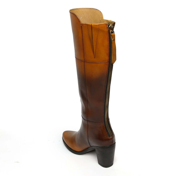 Dual Tone Tan Knee Height Blocked Heel Ladies Leather Boots By Brune