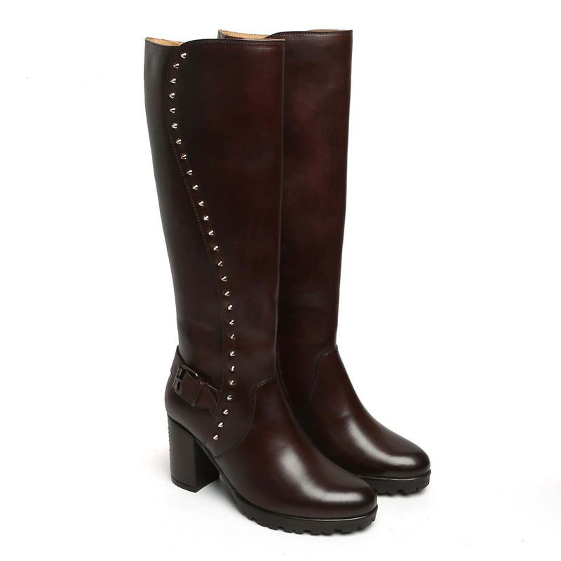 Brown Side Studded Leather Long Ladies Boots By Brune