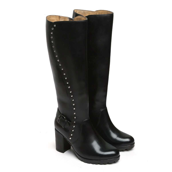 Black Side Studded Leather Long Ladies Boots By Brune