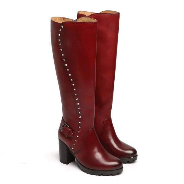 Wine Side Studded Leather Long Ladies Boots By Brune