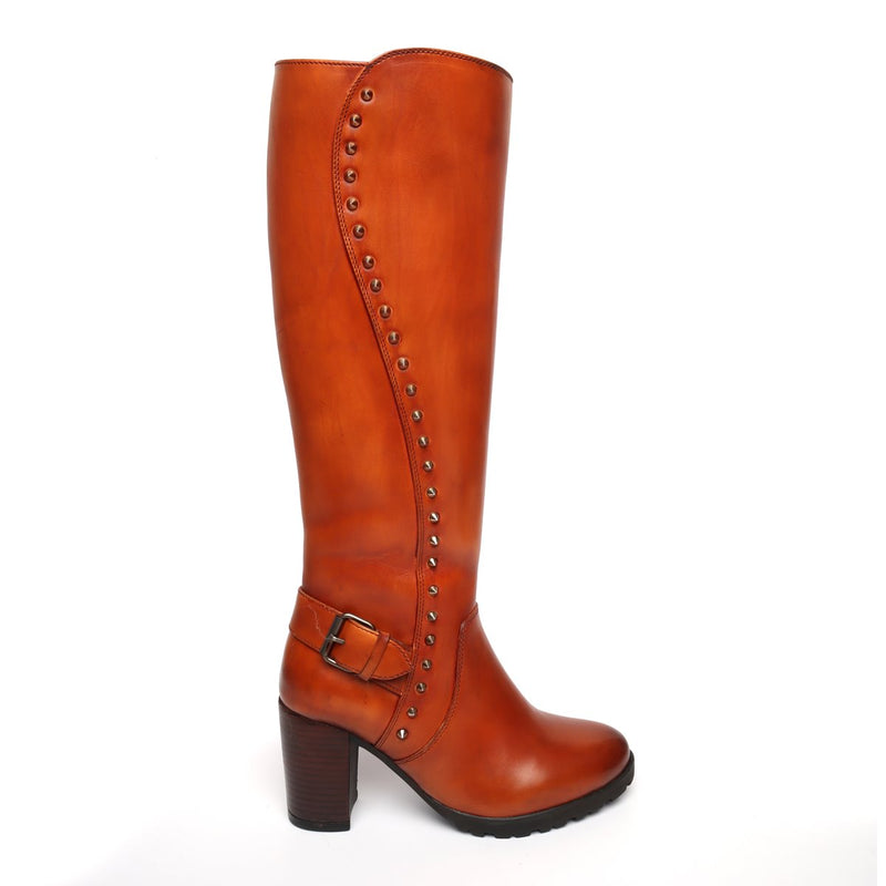 Tan Side Studded Leather Long Ladies Boots By Brune