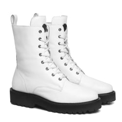 White Leather With Contrasting Black Sole Lightweight Boot For Women By Bareskin