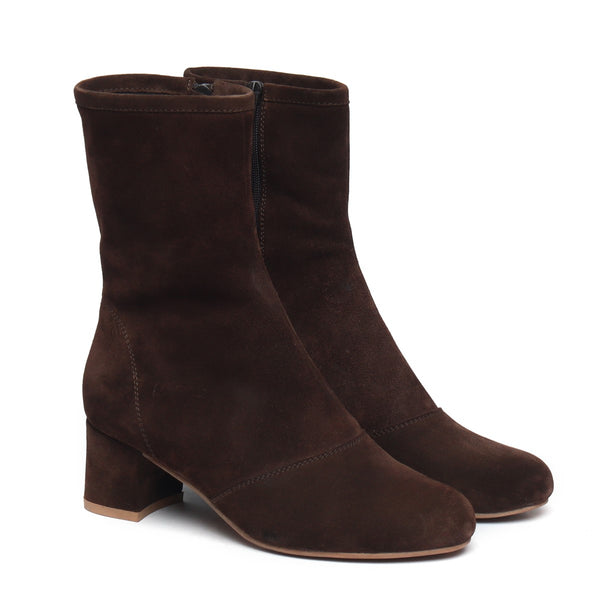 Brown Suede Leather High Ankle Ladies Boots By BRUNE