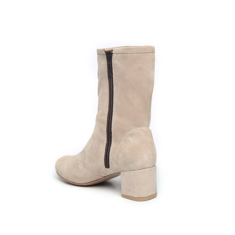 Beige Suede Leather High Ankle Ladies Boots By BRUNE