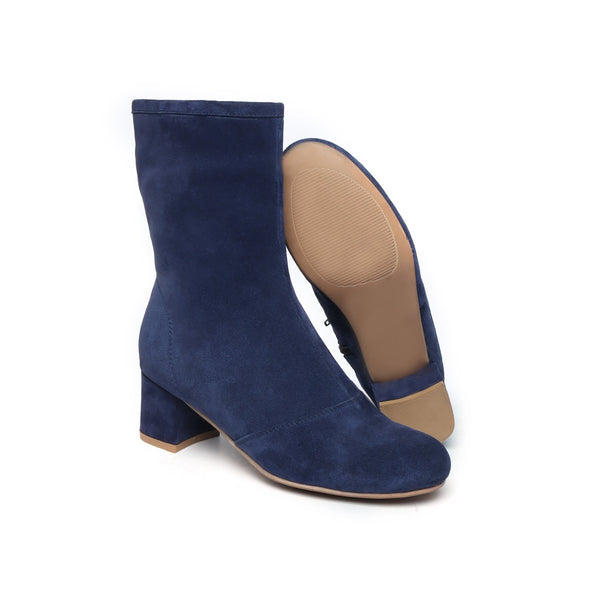 Blue Suede Leather High Ankle Ladies Boots By BRUNE