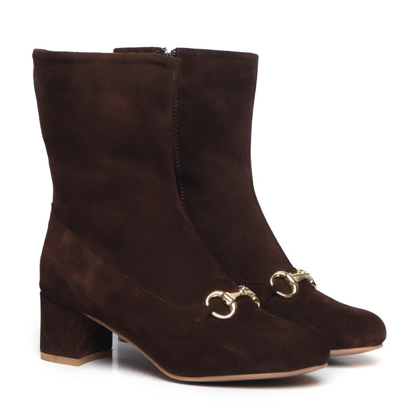 Brown Suede Leather Horsebit Buckle High Ankle Ladies Boots By BRUNE