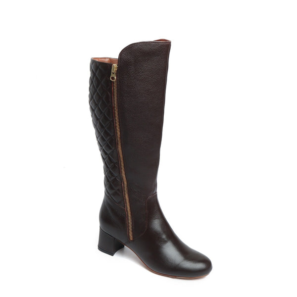 Brown Side Zip With Diamond Stitching Back Leather Ladies Boots By Brune