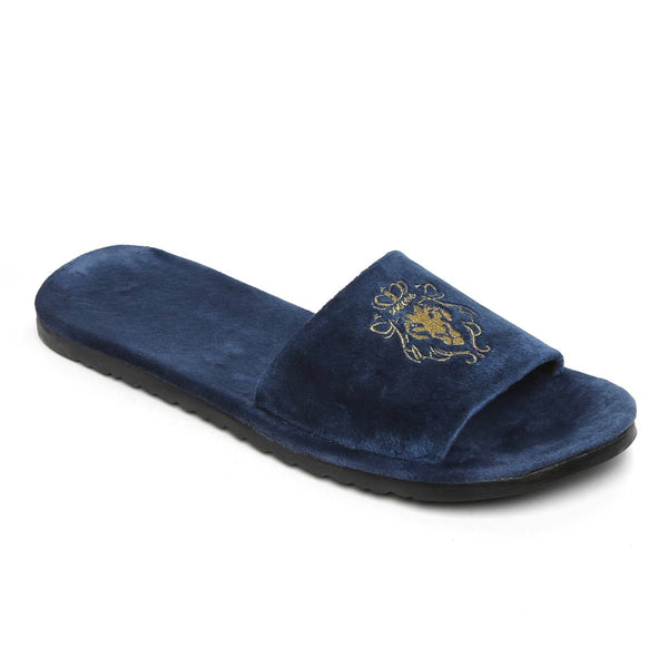 Lioness Blue Two Tone Full Velvet Women Slippers By Bareskin