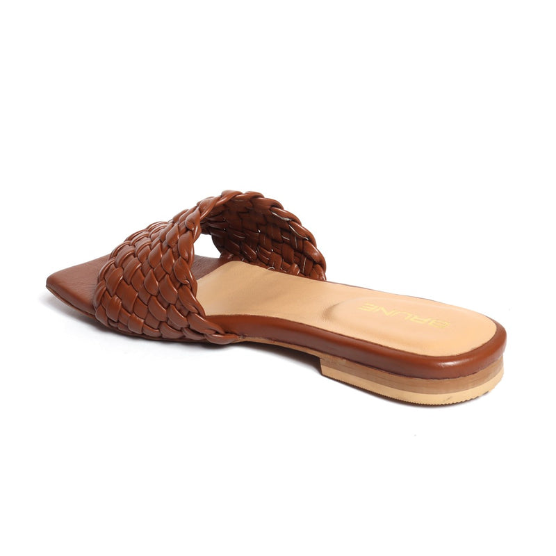 Women's Brown Leather Squared Toe Weaved Strap Slide-in Slippers By Bareskin