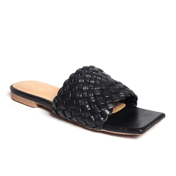 Women's Black Leather Squared Toe Weaved Strap Slide-in Slippers By Bareskin