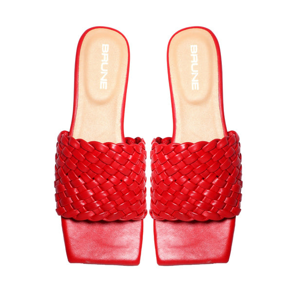 Women's Red Leather Squared Toe Weaved Strap Slide-in Slippers By Bareskin