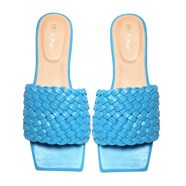Women's Sky Blue Leather Squared Toe Weaved Strap Slide-in Slippers By Bareskin