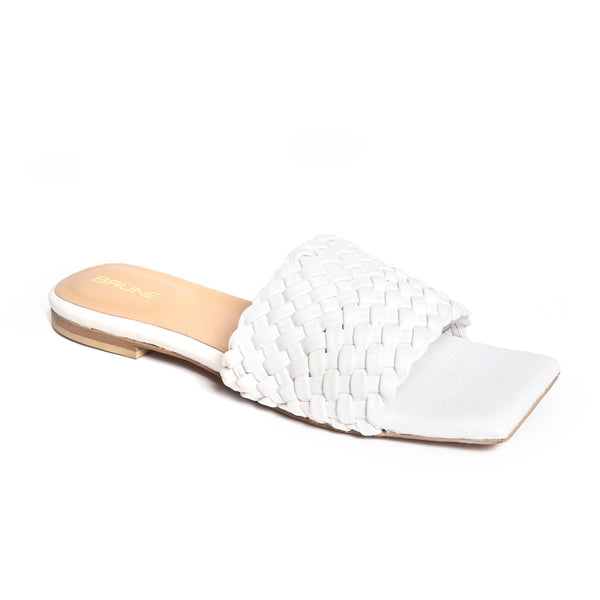 Women's White Leather Squared Toe Weaved Strap Slide-in Slippers By Bareskin