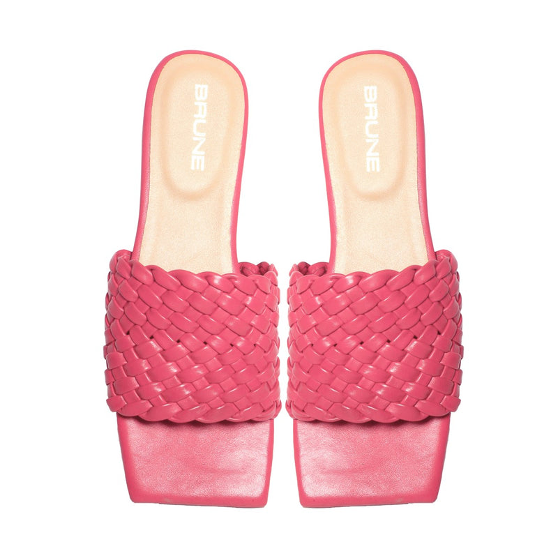 Women's Pink Leather Squared Toe Weaved Strap Slide-in Slippers By Bareskin