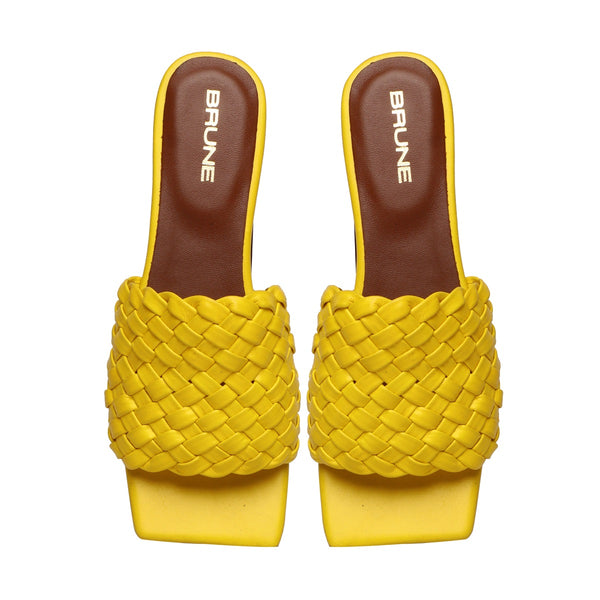 Women's Yellow Leather Squared Toe Weaved Strap Slide-in Slippers By Bareskin