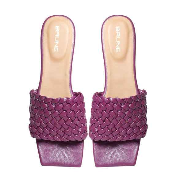 Women's Purple Leather Squared Toe Weaved Strap Slide-in Slippers By Bareskin
