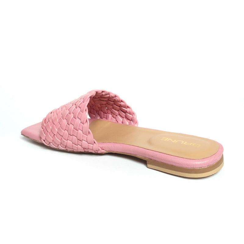 Women's Light Pink Leather Squared Toe Weaved Strap Slide-in Slippers By Bareskin