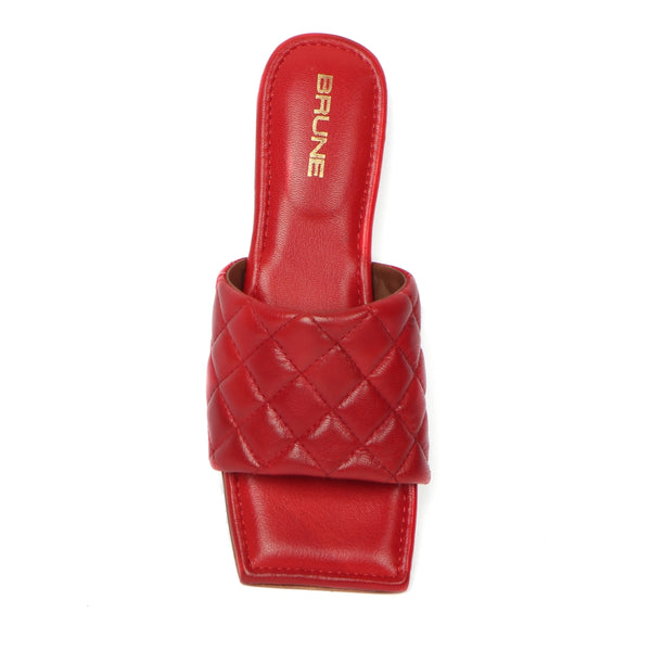 Women's Red Leather Squared Toe Quilted Strap Slide-in Slippers By Brune