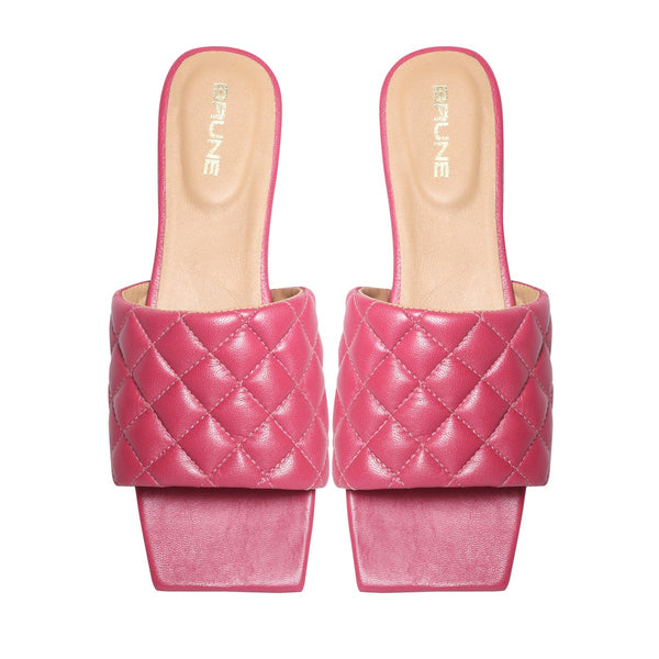 Women's Pink Leather Squared Toe Quilted Strap Slide-in Slippers By Brune