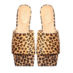 Leopard Print Hairon Leather Squared Toe Slide-In Slippers by BRUNE