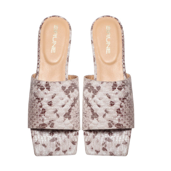 Snake Print Leather Squared Toe Ladies Slide-In Slippers by BRUNE