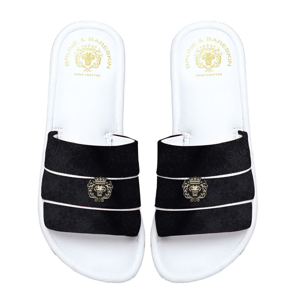 Women's Black Velvet Strap White Leather Slide-in Slippers by BRUNE & BARESKIN