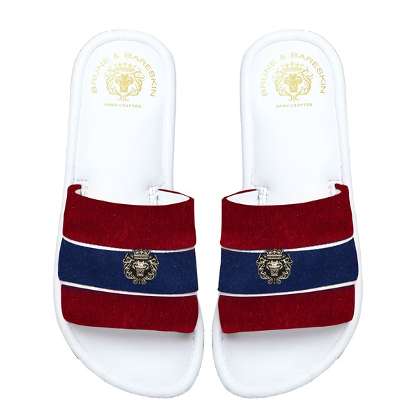 Women's Red & Blue Velvet Strap White Leather Slide-in Slippers by BRUNE & BARESKIN