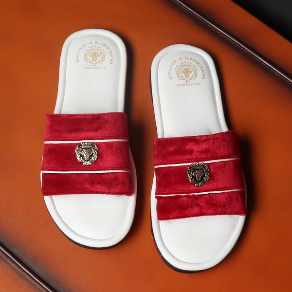 Women's Red Velvet Strap White Leather Slide-in Slippers by BRUNE & BARESKIN