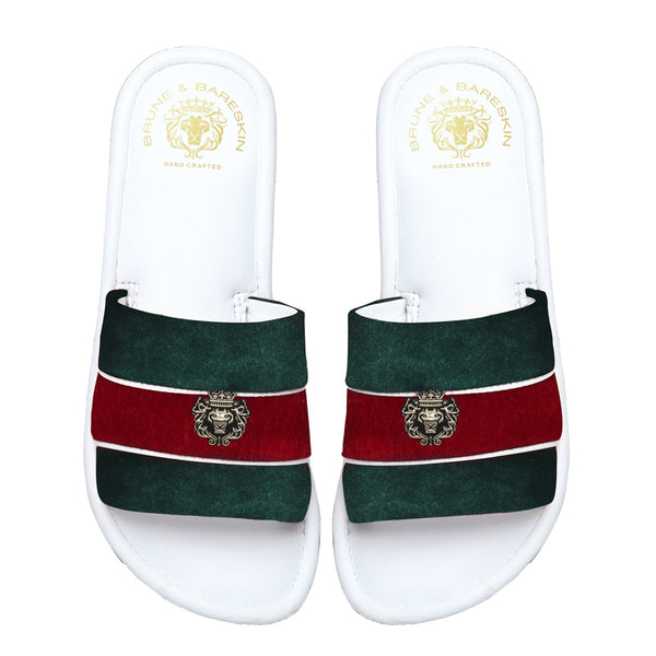 Women's Green & Red Velvet Strap White Leather Slide-in Slippers by BRUNE & BARESKIN