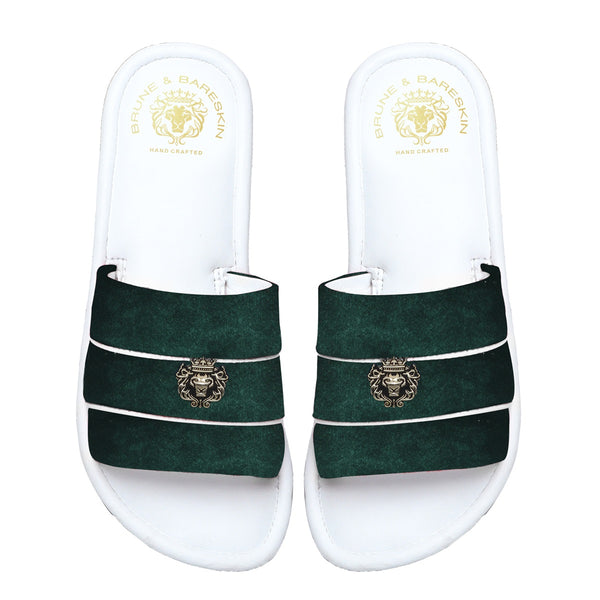 Women's Green Velvet Strap White Leather Slide-in Slippers by BRUNE & BARESKIN