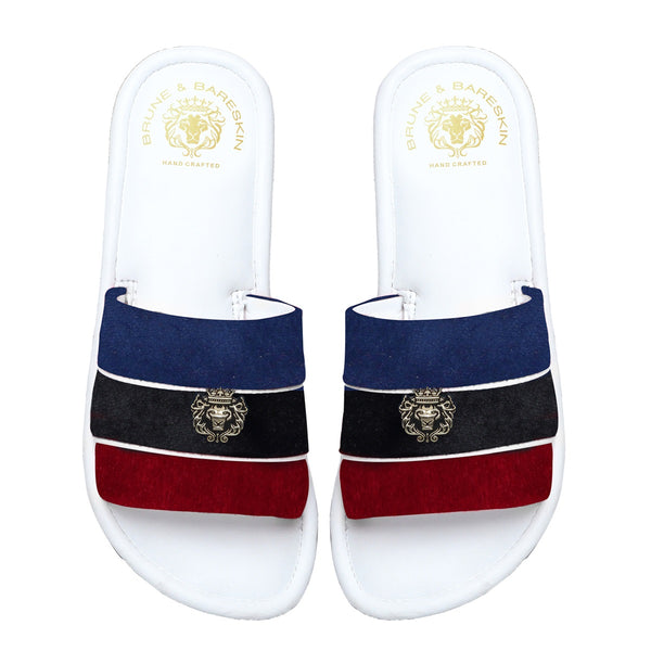 Women's Red, Black & Blue Velvet Strap White Leather Slide-in Slippers by BRUNE & BARESKIN