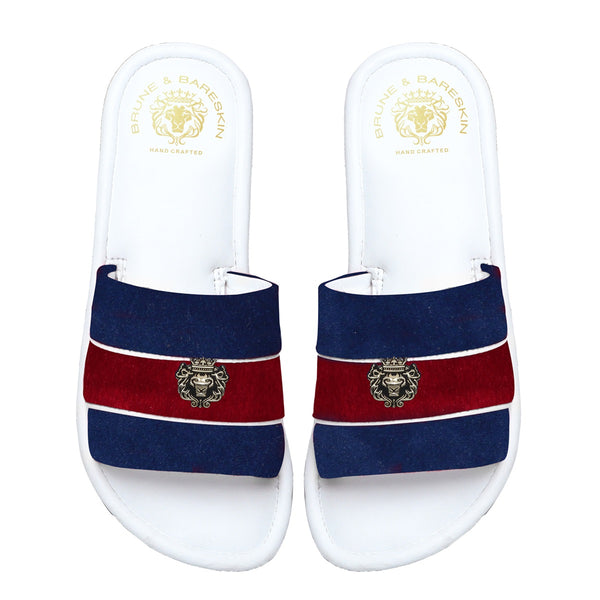 Women's Blue & Red Velvet Strap White Leather Slide-in Slippers by BRUNE & BARESKIN