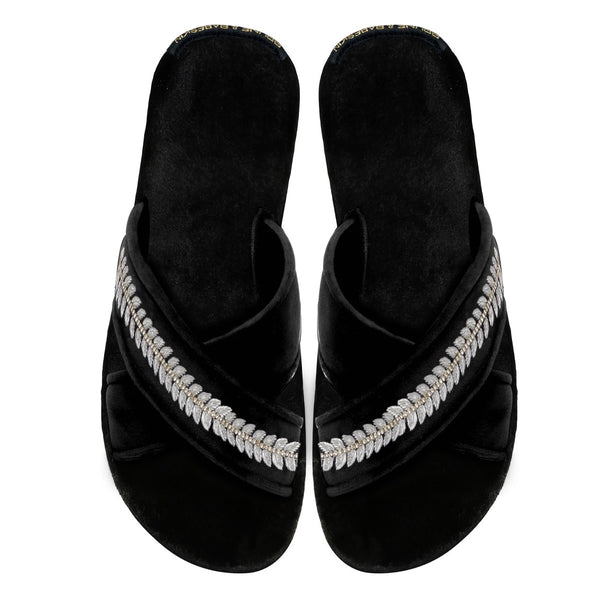 Women's Black Leaf Design Silver Zardosi Embroidery Cross Strap Slippers By Brune & Bareskin