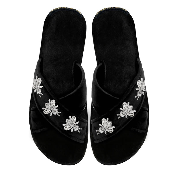Women's Black Velvet Honey Bee Silver Zardosi Embroidery Cross Strap Slippers By Brune & Bareskin