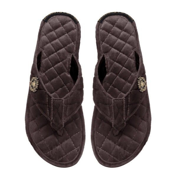 Women V-Strap Brown Full Quilted Soft Italian Velvet Slippers By Brune & Bareskin