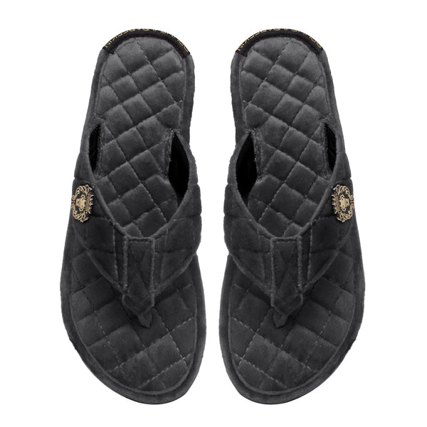 Women V-Strap Grey Full Quilted Soft Italian Velvet Slippers By Brune & Bareskin