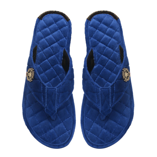 Women V-Strap Blue Full Quilted Soft Italian Velvet Slippers By Brune & Bareskin