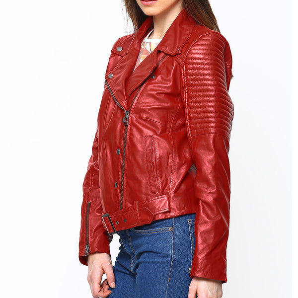 Red Leather Women Padded Sleeves Biker Jacket by BARESKIN