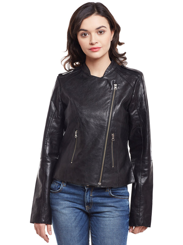 Bareskin Black Leather Classic Biker Women Jacket