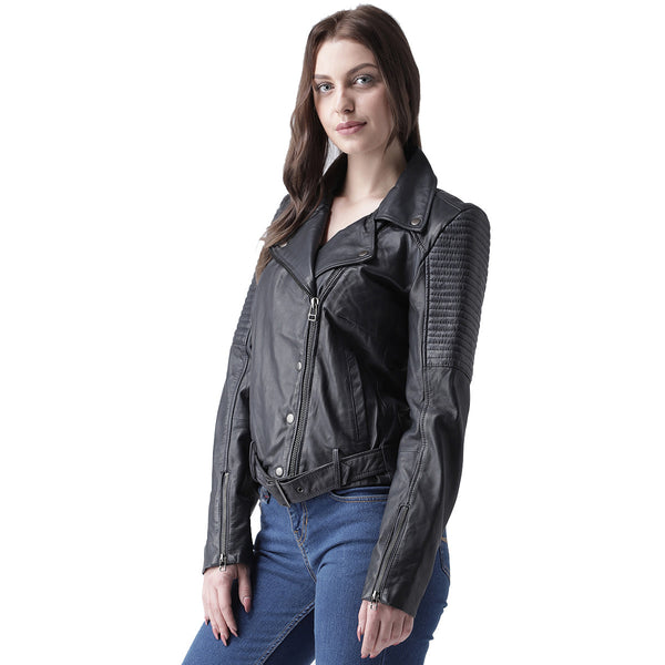 Bareskin Black Leather Ladies Biker Jacket