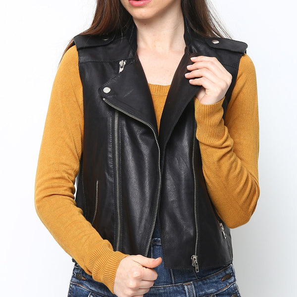 Bareskin Women Black Sleeveless Leather Jacket