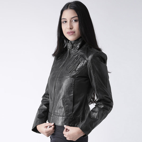 Bareskin Black Leather Full Sleeve Ladies Jacket