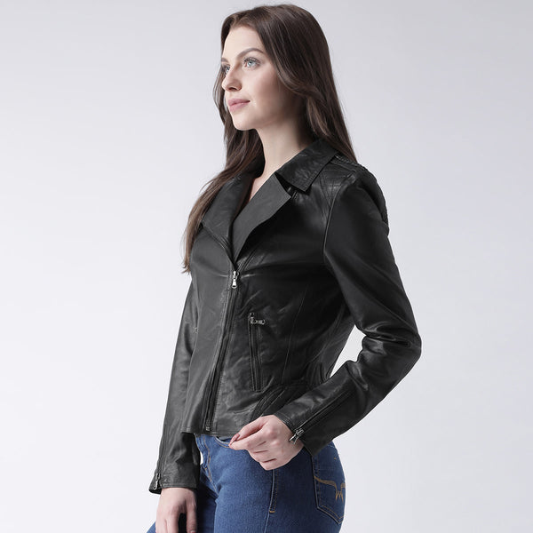 Bareskin Black Leather Classic Ladies Jacket
