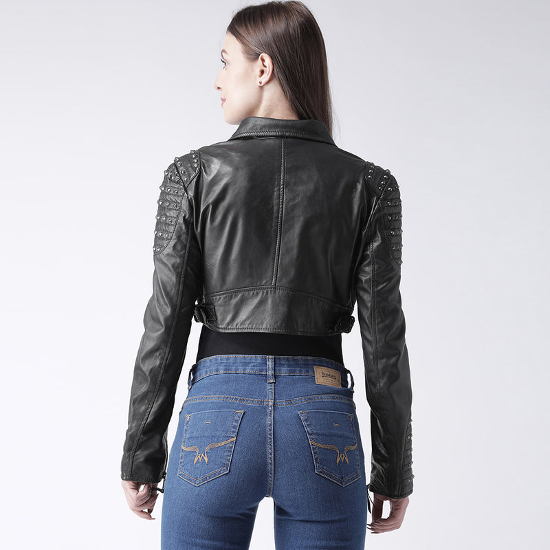 Bareskin Black Leather Short Ladies Biker Jacket