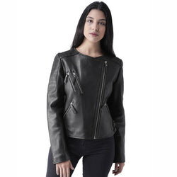Black Leather Slant Zip Style Women Jacket by BARESKIN