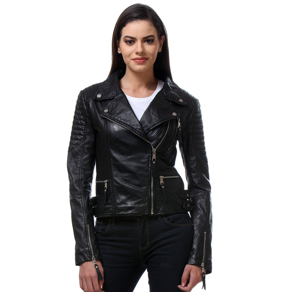 Bareskin Black Color Classic Biker Jacket In Lamb Uno Leather For Women.