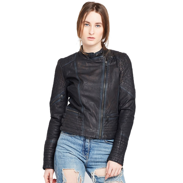 Bareskin Graphite Color Classic Biker Jacket In Lamb Uno Leather For Women